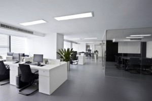 white office black chairs